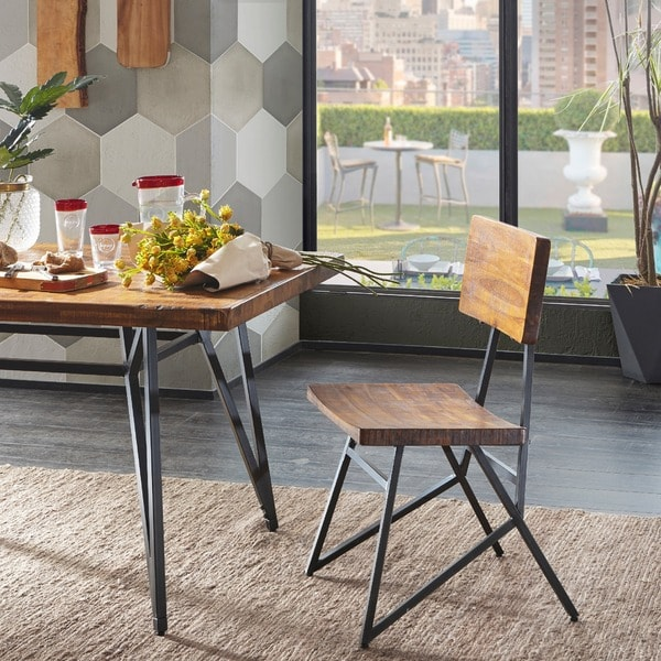 "INK+IVY Trestle Reclaimed Brown/ Gunmetal Dining Chair - Set of 2 - 20""w x 21.5"" d x 36""h (2)"