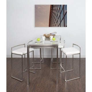 Fuji 5 Piece Contemporary Counter Height High Top Dining Set in Stainless Steel