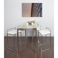 Fuji 5-Piece Contemporary Stainless Steel Counter Height Dining Set