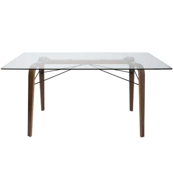 """LumiSource Trilogy Walnut Wood and Clear Glass 62"""" Dining Table - clear glass/walnut wood/black metal"""