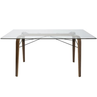 LumiSource Trilogy Brown Wood and Glass 62-inch Dining Table - Walnut