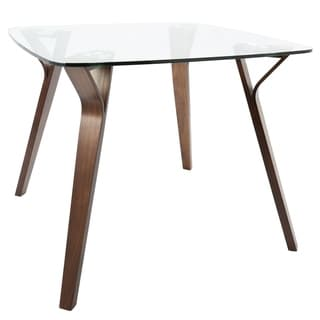 LumiSource Folia Mid-century Modern Walnut Wood Dining Table
