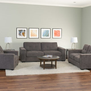 CorLiving Club 3pc Contemporary Chenille Fabric Sofa Set