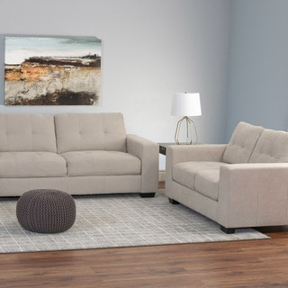 CorLiving Club 2pc Contemporary Chenille Fabric Sofa Set
