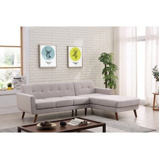 Palm Canyon Tamarisk Mid-century Right-facing Tufted Linen Fabric Upholstered Sectional Sofa