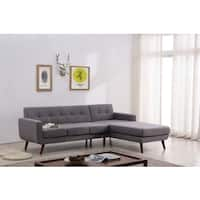 Mid Century Right-Facing Tufted Linen Fabric Upholstered Sectional Sofa