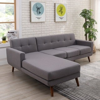 Mid Century Left Facing Tufted Linen Fabric Upholstered Sectional Sofa  (Option: Tan)