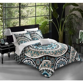 Chic Home Andalusia Black 4-Piece Reversible Quilt Set