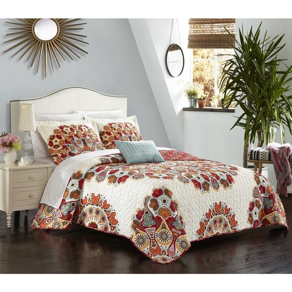 Chic Home Alain Red 4-Piece Reversible Quilt Set