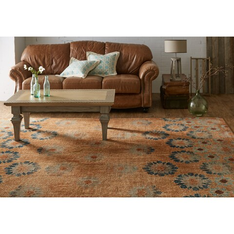 Patina Vie Mohawk Home Studio in Bloom Taupe/Rust Area Rug (8' x 10') - 8' x10'