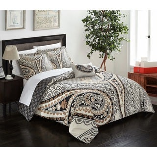 Chic Home Cerys Beige 4 Piece Reversible Duvet Cover Set with Decorative Shams