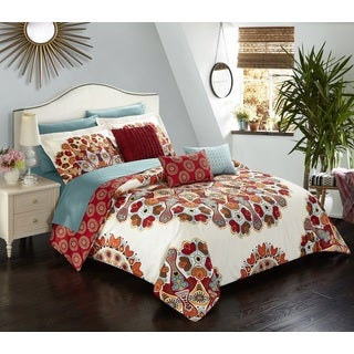 Chic Home Salisbury Red 10 Piece Bed in a Bag Comforter Set