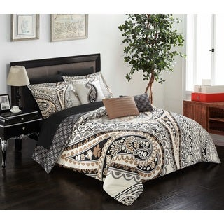 chic home giles beige 10 piece bed in a bag comforter set