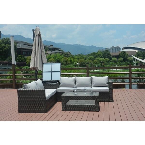Jasmine 4 Piece Grey Wicker Patio Furniture Set With Cushion Box By Direct  Wicker