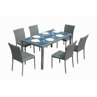 Emily Grey Wicker Rattan 7-piece Dining Set