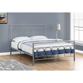 BED -QUEEN SIZE SILVER METAL FRAME