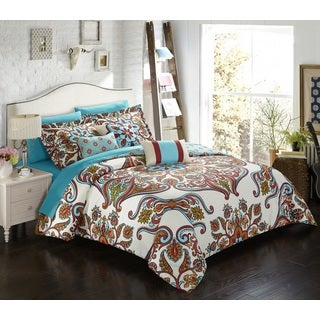 Chic Home Herin Blue 10 Piece Bed in a Bag Comforter Set