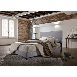 Olivia Grey Linen Upholstered Twin Bed