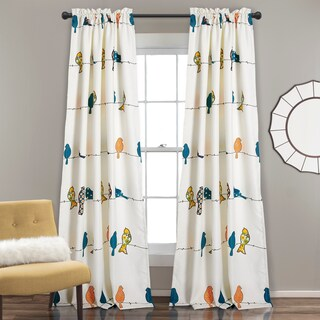 Lush Decor Rowley Birds Room Darkening Window Curtain Panel Set (Option: Multi-color)