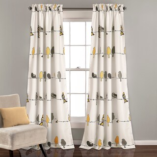 "Lush Decor Rowley Birds Light Filtering Curtain Panel Pair - 52"" W X 84"" L"