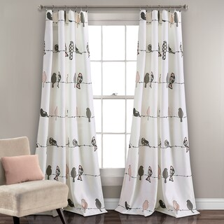 "Lush Decor Rowley Birds Light Filtering Curtain Panel Pair - 52"" W X 84"" L"