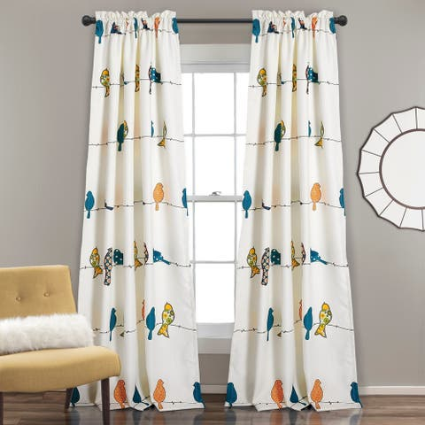 Lush Decor Rowley Birds Room Darkening Curtain Panel Pair