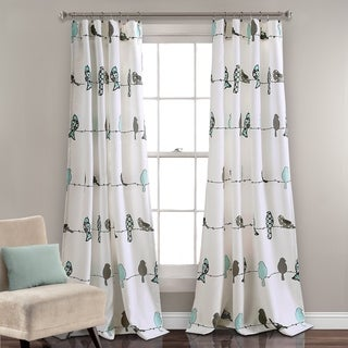 Lush Decor Rowley Birds Room Darkening Window Curtain Panel Set