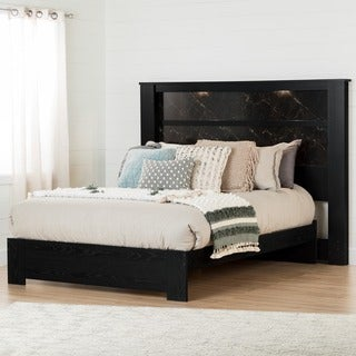 South Shore Gloria Black Oak 60-inch Queen Platform Bed With 78-inch King Headboard