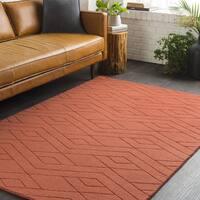 Trocadero Orange Hand-Loomed Wool Area Rug - 2' x 3'