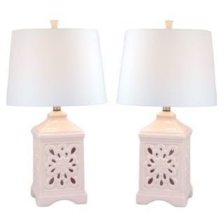 JT Lighting Kire Pink Ceramic/Fabric Table Lamp (Set of 2)