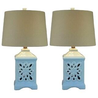 JT Lighting Kire Blue Ceramic 24-inch High Table Lamp (Set of 2)