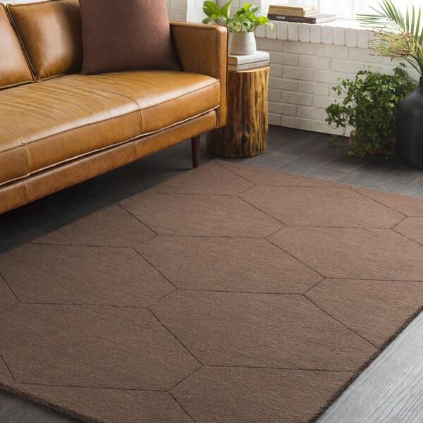 Trocadero Brown Hand-Loomed Wool Area Rug-2' x 3'