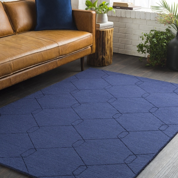Trocadero Blue Hand-Loomed Wool Area Rug - 2' x 3'