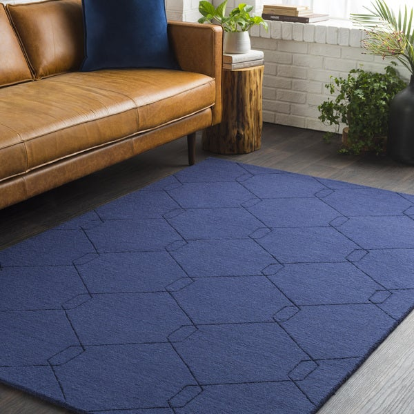 Trocadero Blue Hand-Loomed Wool Area Rug-2' x 3'