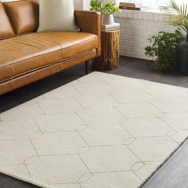 Trocadero Ivory Hand-Loomed Wool Area Rug - 2' x 3'