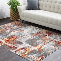Trocadero Red Contemporary Abstract Area Rug (2' x 3') - 2' x 3'