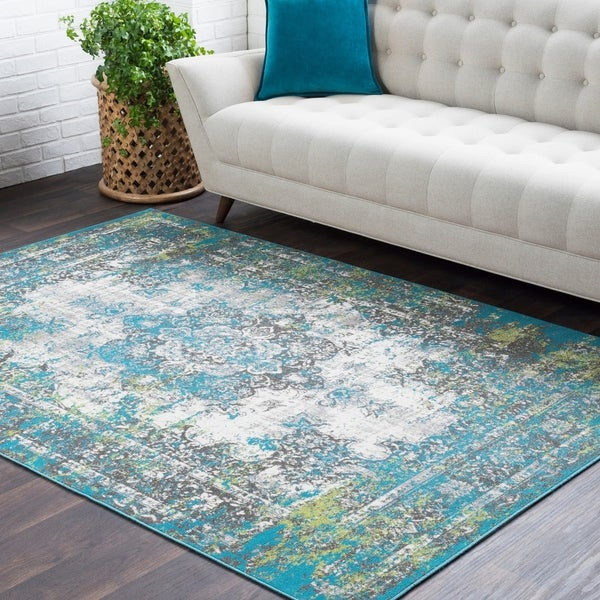 Trocadero Green Contemporary Persian Area Rug - 2' x 3'
