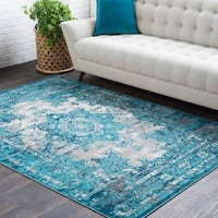 Trocadero Blue Contemporary Persian Area Rug - 2' x 3'