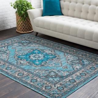 Haute Hali Blue Traditional Floral Area Rug-2' x 3'