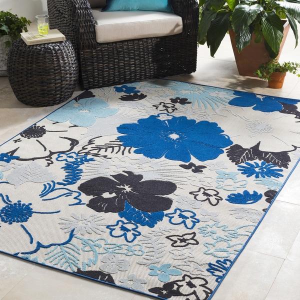 Trocadero Blue Oriental Floral Area Rug-2' x 3'
