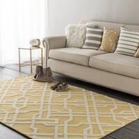 Colonial Home Yellow Geometric Handmade Area Rug (2' x 3') - 2' x 3'