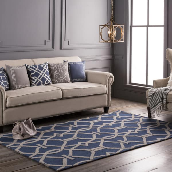 Miraculous Shop Colonial Home Blue Geometric Handmade Area Rug 2 X 3 Pabps2019 Chair Design Images Pabps2019Com