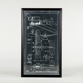 Vintage Plane Blueprint (39x67) with Black Frame by World Interiors