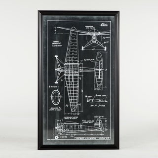 Vintage Firebird Blueprint (39x67) with Black Frame by World Interiors