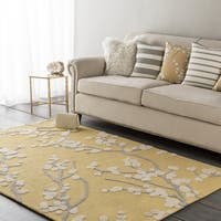 Colonial Home Yellow Floral Handmade Area Rug - 2' x 3'