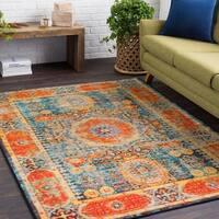 Haute Hali Orange Vintage Oriental Area Rug (2' x 3') - 2' x 3'