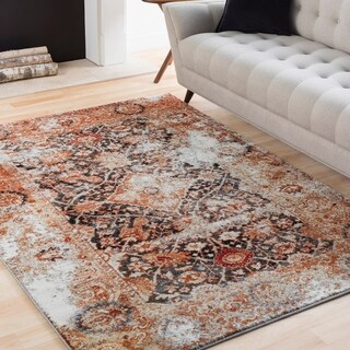 Emerson Multicolored Weathered Vintage Medallion Rug (2' x 3')
