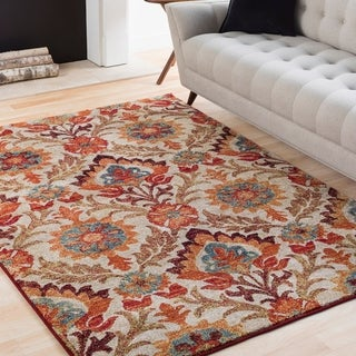Kate Multicolored Floral Damask Area Rug - 2' x 3'