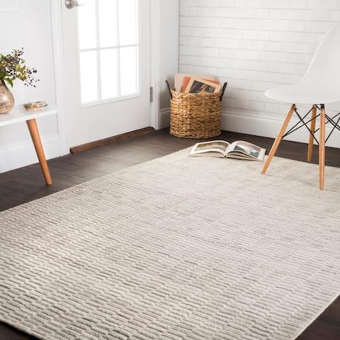 Hand-loomed Franklin Oatmeal Wool Rug - 7'6 x 9'6
