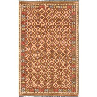 eCarpetGallery Yellow Wool Flatweave Anatolian Kilim (5'0 x 8'5)